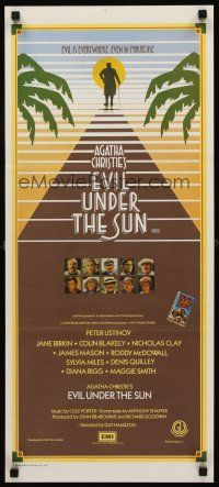 9p613 EVIL UNDER THE SUN Aust daybill '82 Agatha Christie, Anthony Shaffer, Peter Ustinov!