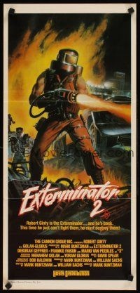 9p615 EXTERMINATOR 2 Aust daybill '84 wild art of man w/flamethrower and punks in New York ruins!