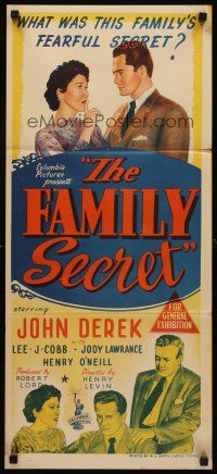 9p617 FAMILY SECRET Aust daybill '51 Lee J. Cobb's son John Derek is a murderer!