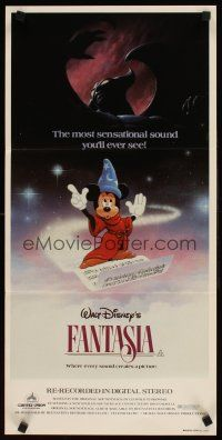 9p619 FANTASIA Aust daybill R82 great different art of Mickey Mouse, Disney musical classic!