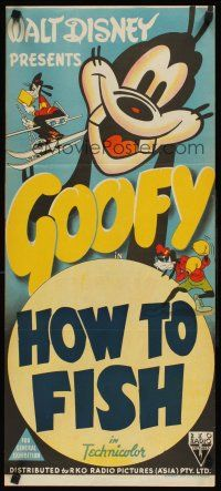 9p660 GOOFY Aust daybill 40s art of Goofy skiing reading and boxing How To Fish