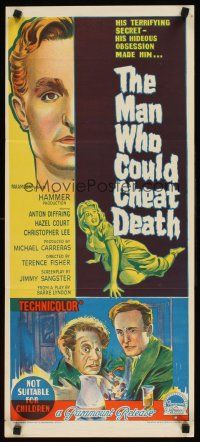 9p777 MAN WHO COULD CHEAT DEATH Aust daybill 59 Hammer horror Richardson Studio artwork