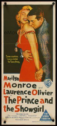 9p827 PRINCE & THE SHOWGIRL Aust daybill '57 Laurence Olivier nuzzles Marilyn Monroe's shoulder!