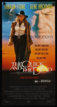 9p832 QUICK & THE DEAD Aust daybill '95 Sharon Stone & super close up of Gene Hackman!