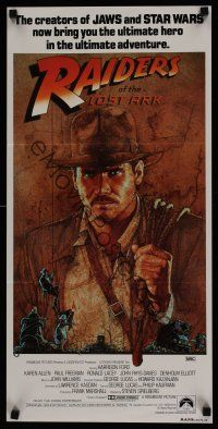 9p833 RAIDERS OF THE LOST ARK Aust daybill '81 great Harrison Ford adventurer art by Richard Amsel!