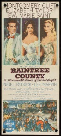 9p834 RAINTREE COUNTY Aust daybill '57 art of Montgomery Clift, Elizabeth Taylor & Eva Marie Saint!