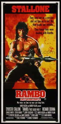 9p835 RAMBO FIRST BLOOD PART II Aust daybill '85 no man, no law, no war can stop Stallone!
