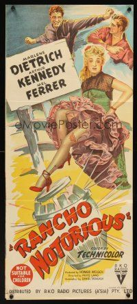 9p836 RANCHO NOTORIOUS Aust daybill '52 Fritz Lang, stone litho of Marlene Dietrich showing leg!