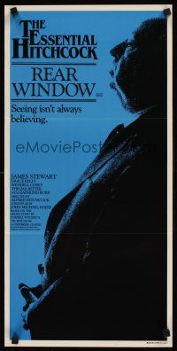 9p837 REAR WINDOW Aust daybill R83 profile of Alfred Hitchcock, Jimmy Stewart, Grace Kelly!