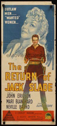 9p838 RETURN OF JACK SLADE Aust daybill '66 Richardson Studio art of John Ericson Mari Blanchard!