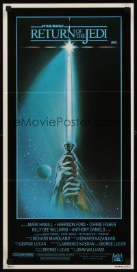 9p839 RETURN OF THE JEDI style A Aust daybill '83 George Lucas, art of hands holding lightsaber!