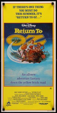 9p840 RETURN TO OZ Aust daybill '85 Walt Disney, great different artwork of cast on flying bed!