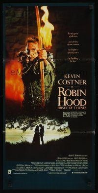 9p844 ROBIN HOOD PRINCE OF THIEVES Aust daybill '91 cool image of Kevin Costner w/flaming arrow!
