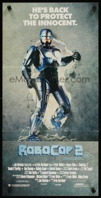 9p846 ROBOCOP 2 Aust daybill '90 cyborg policeman Peter Weller busts through wall, scii-fi sequel!