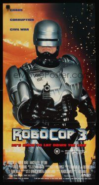 9p847 ROBOCOP 3 Aust daybill '93 great close up of cyborg cop Robert Burke pointing gun!