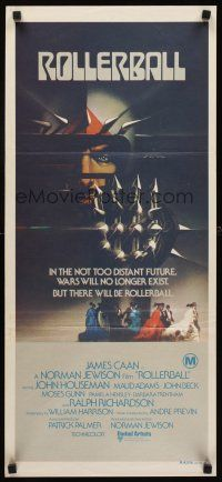 9p849 ROLLERBALL Aust daybill '75 James Caan in a future where war does not exist, Bob Peak art!