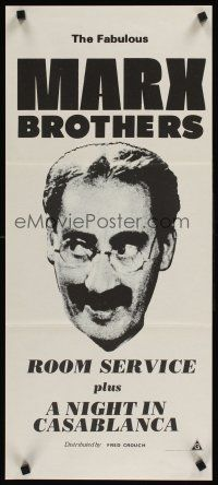9p850 ROOM SERVICE/NIGHT IN CASABLANCA Aust daybill '70s great headshot image of Groucho Marx!