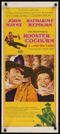 9p851 ROOSTER COGBURN Aust daybill '75 great art of John Wayne with eye patch & Katharine Hepburn!