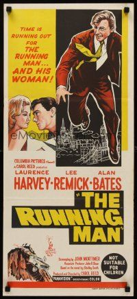 9p852 RUNNING MAN Aust daybill '63 Carol Reed, time is running out for Laurence Harvey & Remick!