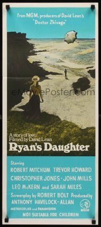 9p853 RYAN'S DAUGHTER Aust daybill '70 David Lean, art of Sarah Miles on beach by Ron Lesser!