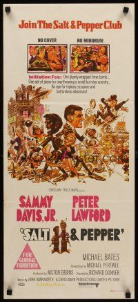 9p854 SALT & PEPPER Aust daybill '68 great artwork of Sammy Davis & Peter Lawford by Jack Davis!