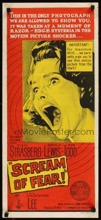 9p859 SCREAM OF FEAR Aust daybill '61 Hammer, wild terrified Susan Strasberg horror image!