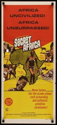 9p860 SECRET AFRICA Aust daybill '69 Africa Segreta, documentary, great images of natives!