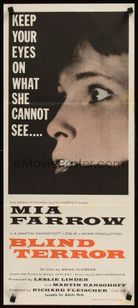 9p861 SEE NO EVIL Aust daybill '71 keep your eyes on what blind Mia Farrow cannot see!