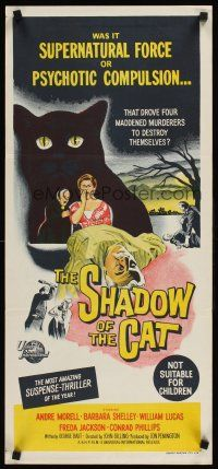 9p864 SHADOW OF THE CAT Aust daybill '61 was it supernatural force or psychotic compulsion!