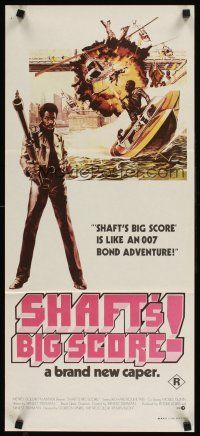 9p865 SHAFT'S BIG SCORE Aust daybill '72 great art of mean Richard Roundtree with big gun by Solie