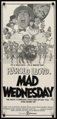 9p868 SIN OF HAROLD DIDDLEBOCK Aust daybill R79 Preston Sturges, Harold Lloyd & lion, Mad Wednesday