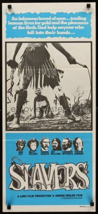 9p869 SLAVERS Aust daybill '78 Ron Ely, Britt Ekland, cool image of native w/whip & chains!