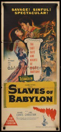 9p870 SLAVES OF BABYLON Aust daybill '53 William Castle sword-and-sandal, Richard Conte!
