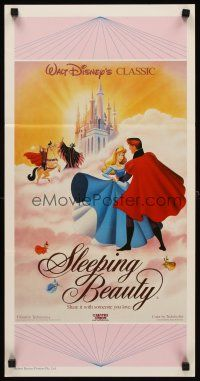 9p872 SLEEPING BEAUTY Aust daybill R87 Walt Disney cartoon fairy tale fantasy, great art!
