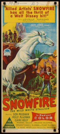 9p875 SNOWFIRE Aust daybill '58 McGowan family, Richardson Studio art of wild white stallion!