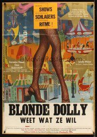9p236 DIE BEINE VON DOLORES kraftbacked German 33x47 '57 great art of sexy showgirl's legs!
