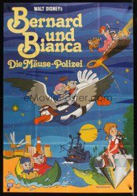 9p240 RESCUERS German 33x47 '77 Disney mouse mystery adventure cartoon from Devil's Bayou!