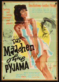 9p255 DAS MADCHEN OHNE PYJAMA kraftbacked German '57 Litter art of pretty Elma Karlowa in towel!