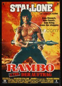 9p283 RAMBO FIRST BLOOD PART II German '85 no man, no law, no war can stop Sylvester Stallone!
