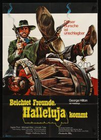 9p285 RETURN OF HALLELUJA German '72 art of George Hilton w/two smoking guns in wacky western!