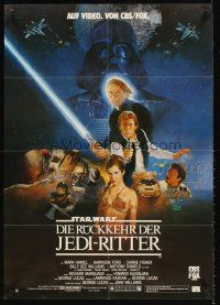 9p286 RETURN OF THE JEDI video German '83 Lucas classic, Mark Hamill, Harrison Ford, Sano art!