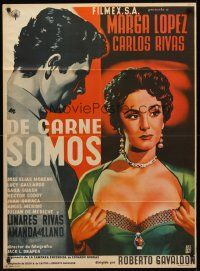 9p036 DE CARNE SOMOS Mexican poster '55 artwork of sexy Marga Lopez pulling her shirt open!