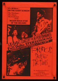 9p866 SIGN 'O' THE TIMES New Zealand daybill '87 rock and roll concert, image of Prince w/guitar!