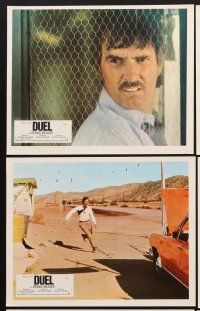 9p159 DUEL 8 French LCs '73 Steven Spielberg, Weaver, most bizarre murder weapon ever used!