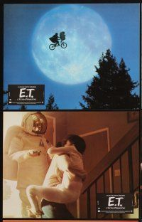 9p101 E.T. THE EXTRA TERRESTRIAL 12 French LCs '82 Spielberg, w/best bike over moon image!