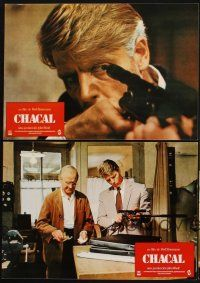9p066 DAY OF THE JACKAL 8 Spanish LCs '73 Fred Zinnemann assassination classic, killer Edward Fox!