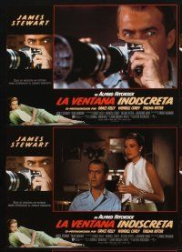 9p064 REAR WINDOW 12 Spanish LCs R00 Alfred Hitchcock, voyeur Jimmy Stewart & sexy Grace Kelly!