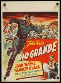 9t020 RIO GRANDE Dutch '50 artwork of John Wayne running with sword, directed by John Ford!