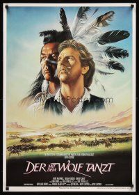 9t049 DANCES WITH WOLVES German '91 great Casaro art of Kevin Costner & Graham Greene!