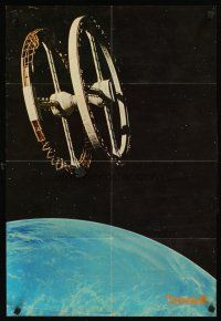 9t039 2001: A SPACE ODYSSEY 2-sided Japanese 20x29 '68 Kubrick, image of space station & Discovery!
